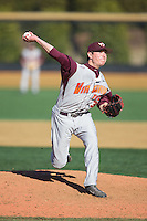 Virginia Tech Hokies relief pitcher Joey Sullivan (36) in action against the Wake Forest Demon Deacons at Wake Forest Baseball Park on March 7, 2015 in Winston-Salem, North Carolina.  The Hokies defeated the Demon Deacons 12-7 in game one of a double-header.   (Brian Westerholt/Four Seam Images)