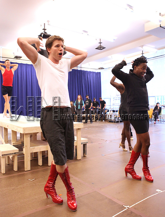 Stark Sands & Billy Porter performing in the Sneek Peek Press Preview of the New Broadway Musical 'Kinky Boots' at the New 42nd Street Studios in New York City on September 14, 2012.