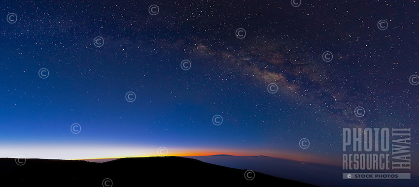 The Milky Way in a clear sky just before sunrise over Haleakala, Maui.