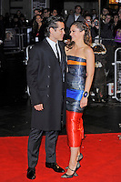 Colin Farrell and Ruth Wilson<br /> attending the 57th BFI London Film Festival Closing Night Gala World Premiere of 'Saving Mr Banks', Odeon Cinema, Leicester Square, London, England. <br /> 20th October 2013<br /> full length black orange blue grey gray  strapless stripe dress cuff bracelet proifle coat suit <br /> CAP/MAR<br /> © Martin Harris/Capital Pictures