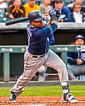 16 September 2017: San Diego Padres shortstop Erick Aybar in action against the Colorado Rockies at Coors Field in Denver, Colorado. The Rockies shut out the Padres 16-0 in the second game of their 3-game divisional series. Mandatory Credit: Ed Wolfstein Photo *** RAW (NEF) Image File Available ***