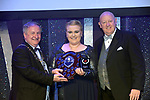 Alice Barnes, Muse Productions, Shannon, winner of the Best House Management for their production of &quot;Man of La Mancha' receiving the trophy from on  left, Colm Moules, President, AIMS and Seamus Power, Vice-President at the Association of Irish Musical Societies annual awards in the INEC, KIllarney at the weekend.<br /> Photo: Don MacMonagle -macmonagle.com<br /> <br /> <br /> <br /> repro free photo from AIMS<br /> Further Information:<br /> Kate Furlong AIMS PRO kate.furlong84@gmail.com