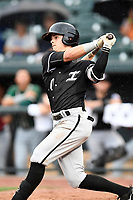 Mitch Roman (10) of the Kannapolis Intimidators on the North team bats at the South Atlantic League All-Star Game on Tuesday, June 20, 2017, at Spirit Communications Park in Columbia, South Carolina. The game was suspended due to rain after seven innings tied, 3-3. (Tom Priddy/Four Seam Images)