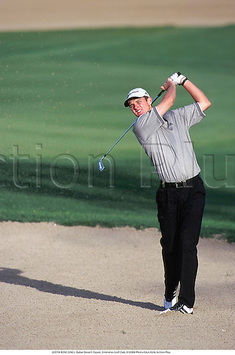 JUSTIN ROSE (ENG), Dubai Desert Classic, Emirates Golf Club, 010304. Photo:Glyn Kirk/Action Plus...2001.Golf.sand trap bunker bunkers.golfer golfers
