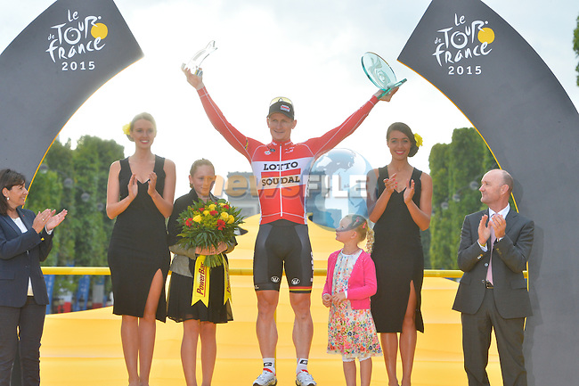 Stage winner Andre Greipel (GER) Loto-Soudal on the podium in Paris at the end of Stage 21 of the 2015 Tour de France running 109.5km from Sevres to Paris - Champs Elysees, France. 26th July 2015.<br /> Photo: ASO/B.Bade/Newsfile
