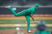 Notre Dame Fighting Irish relief pitcher Joe Boyle (46) follows through on his delivery against the Wake Forest Demon Deacons at David F. Couch Ballpark on March 10, 2019 in  Winston-Salem, North Carolina. The Demon Deacons defeated the Fighting Irish 7-4 in game one of a double-header.  (Brian Westerholt/Four Seam Images)