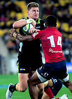 Jordie Barrett in action during the Super Rugby match between the Hurricanes and Reds at Westpac Stadium in Wellington, New Zealand on Friday, 18 May 2018. Photo: Dave Lintott / lintottphoto.co.nz