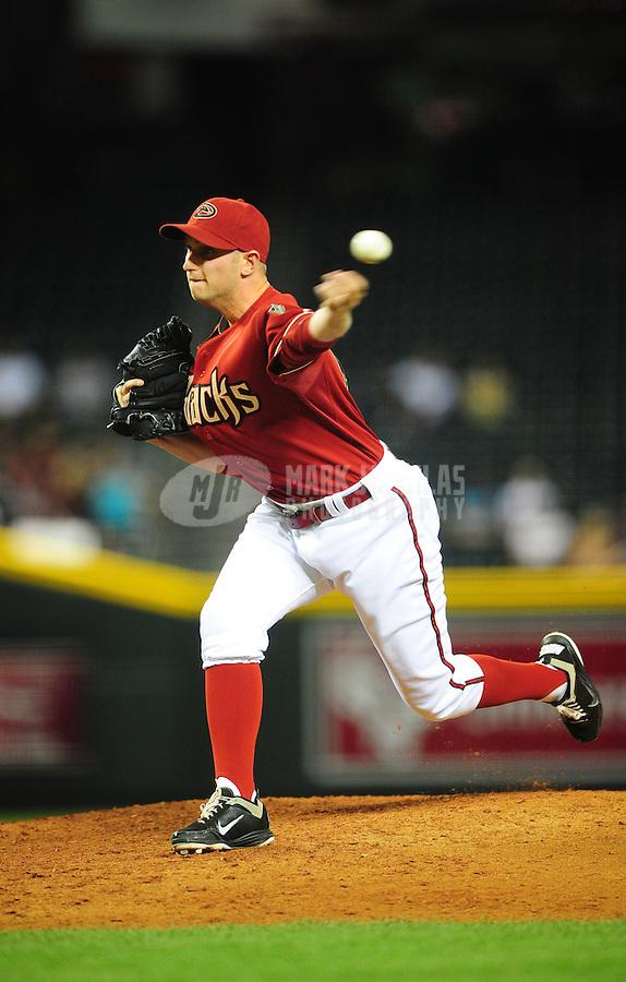 May 4, 2011; Phoenix, AZ, USA; Arizona Diamondbacks pitcher Joe Paterson against the Colorado Rockies at Chase Field. Mandatory Credit: Mark J. Rebilas-