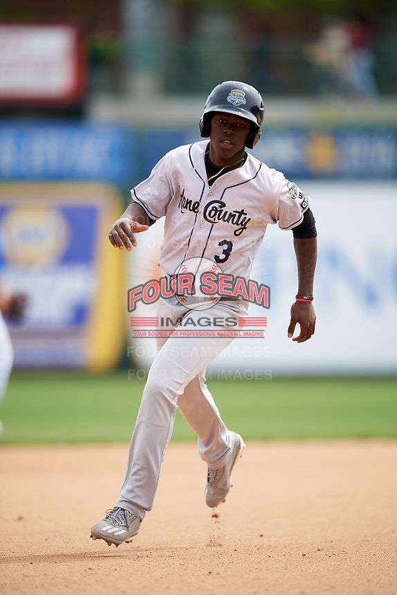 Kane County Cougars shortstop Jasrado Chisholm (3) running the bases during a game against the South Bend Cubs on May 3, 2017 at Four Winds Field in South Bend, Indiana.  South Bend defeated Kane County 6-2.  (Mike Janes/Four Seam Images)