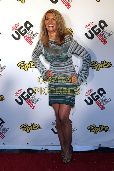 COURTNEY HANSEN.2005 Spike TV Video Game Awards - Arrivals held at the Gibson Amphitheater, Universal City, California..November 18th, 2005.Photo: Zach Lipp/AdMedia/Capital Pictures.Ref: Zl/ADM.half length hand on hip grey gray green crochet knitted dress stripes stripes see through thru laughing.www.capitalpictures.com.sales@capitalpictures.com.© Capital Pictures.