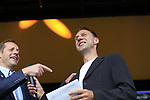 Tour Director Christian Prudhomme ASO with MC Jens Voigt on stage at the Team Presentation in Burgplatz Dusseldorf before the 104th edition of the Tour de France 2017, Dusseldorf, Germany. 29th June 2017.<br /> Picture: Eoin Clarke | Cyclefile<br /> <br /> <br /> All photos usage must carry mandatory copyright credit (&copy; Cyclefile | Eoin Clarke)