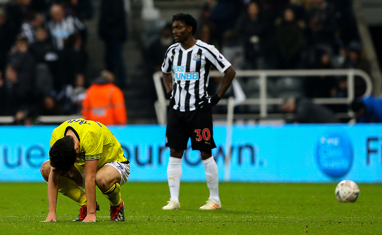 Blackburn Rovers' Lewis Travis reacts after the final whistle <br /> <br /> Photographer Alex Dodd/CameraSport<br /> <br /> Emirates FA Cup Third Round - Newcastle United v Blackburn Rovers - Saturday 5th January 2019 - St James' Park - Newcastle<br />  <br /> World Copyright © 2019 CameraSport. All rights reserved. 43 Linden Ave. Countesthorpe. Leicester. England. LE8 5PG - Tel: +44 (0) 116 277 4147 - admin@camerasport.com - www.camerasport.com