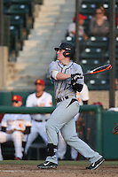Robby Enslen (12) of the Oakland Grizzlies bats during a game against the Southern California Trojans at Dedeaux Field on February 21, 2015 in Los Angeles, California. Southern California defeated Oakland, 11-1. (Larry Goren/Four Seam Images)