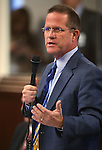 Nevada Sen. Mark Hutchison, R-Las Vegas, speaks on the Senate floor during the final day of the 77th Legislative session at the Legislative Building in Carson City, Nev., on Monday, June 3, 2013. <br /> Photo by Cathleen Allison