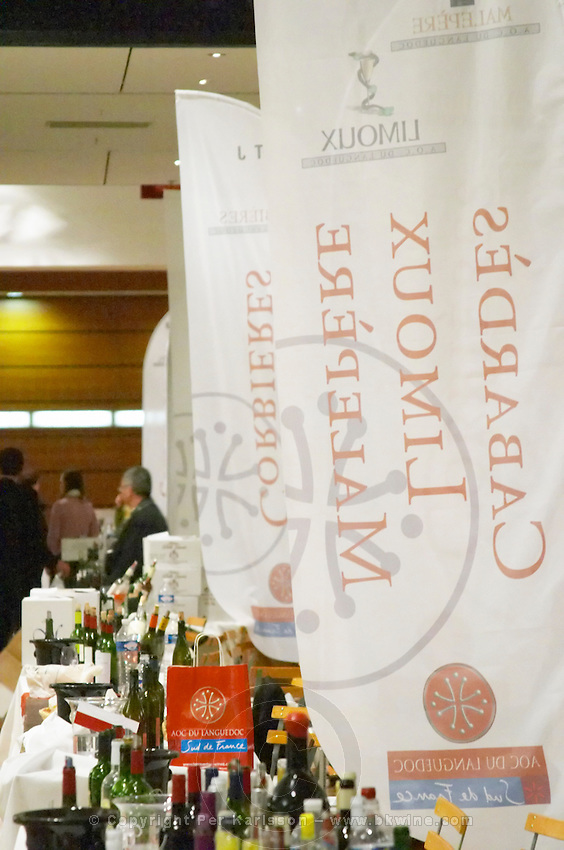 Cabardes, Limoux, Malpere, Corbieres, banners and exhibitors at wine fair. Languedoc. France. Europe.