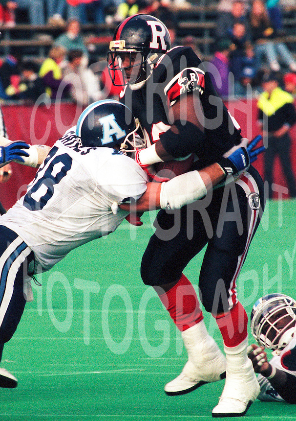 Kensley Palmer Ottawa Rough Riders 1991. Photo F. Scott Grant