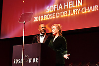Picture by Simon Wilkinson/SWpix.com 01/122019 -  Rose d'Or 2019 Award Ceremony, red carpet arrivals and winners. Kings Place, London<br /> - Sofia HELIN and Sir Lenny HENRY