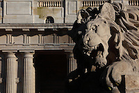 Fontaine Saint-Sulpice (St Sulpitius' Fountain), 1844-48, by Joachim Visconti, and Eglise Saint-Sulpice (St Sulpitius' Church), c.1646-1745, Paris, France. Detail of Lion sculpture with Late Baroque church in background. Picture by Manuel Cohen