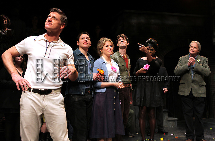 Sean Allan Krill, Rania Salem Manganaro, Jessica Dickey, Ben Diskant & Nathan Lee Graham with Scott Morfee during the Opening Night Performance Curtain Call for the New York Premiere  of 'Hit The Wall' at the Barrow Street Theatre  in New York City on 3/10/2013