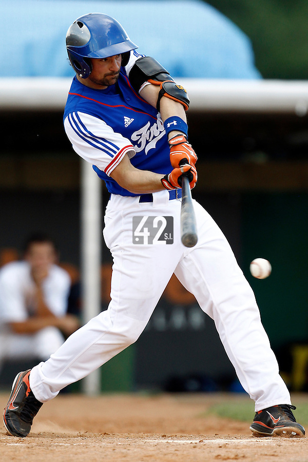 22 June 2011: Florian Peyrichou of Team France is seen during AIST Alumni 5-3 win over France, at the 2011 Prague Baseball Week, in Prague, Czech Republic.