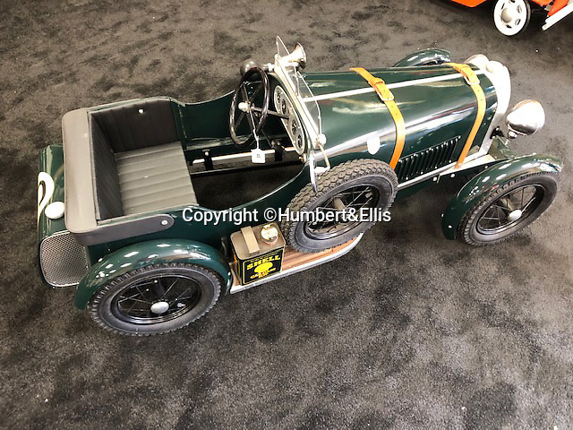 BNPS.co.uk (01202 558833)<br /> Pic: Humbert&Ellis/BNPS<br /> <br /> A hand built Bentley pedal car, est. £6,500.<br /> <br /> £200,000 of pedal power...<br /> <br /> A remarkable single owner collection of over 85 vintage toy cars has emerged for sale for £200,000.<br /> <br /> The fleet of rare pedal cars which were acquired over half a century form what is thought to be the biggest private collection of its kind in the world.<br /> <br /> It includes child car models of Rolls Royces, Bugattis and Bentleys, as well as a quirky amphibian car. <br /> <br /> The collection has been consigned for sale with Humbert & Ellis Auctioneers by a retired businessman in his 80s.<br /> <br /> He travelled all over the world to get his hands on the cars, and built a barn next to his Devon home to display them in.