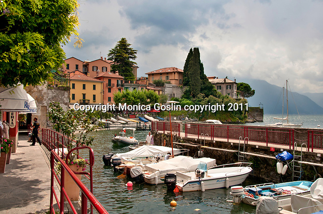Looking at Varenna, Italy on Lake Como with boats in the foreground