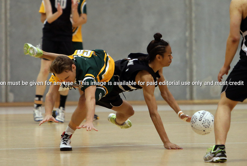 09.10.2012 Action during the netball test match between the New Zealand and Australian Under 19 Mens teams th the Auckland Netball Centre in Auckland. Mandatory Photo Credit ©Michael Bradley.