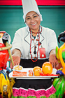 Street food vendor preparing food for Judges of annual competition, Lima, Peru, South America