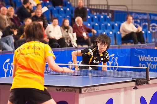 29.01.2011 English Open ITTF Pro Tour Table Tennis from the EIS in Sheffield. Kasumi Ishikawa of Japan plays Mi Soon Kang of Korea in the final