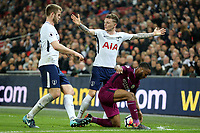 Kieran Trippier of Tottenham Hotspur and Raheem Sterling of Manchester City during Tottenham Hotspur vs Manchester City, Premier League Football at Wembley Stadium on 14th April 2018