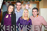 Anne Marie Riordan (Killarney) Paul O'Donoghue (Castleisland) Noreen McRedmond (Cordal, Castleisland) Alan O'Donoghue (Cordal, Castleisland) celebrating New Year's Eve at the Kube bar, Killarney on Tuesday night.
