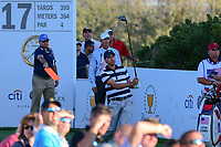 Kevin Kisner (USA) watches his tee shot on 17 during round 1 foursomes of the 2017 President's Cup, Liberty National Golf Club, Jersey City, New Jersey, USA. 9/28/2017.<br /> Picture: Golffile   Ken Murray<br /> ll photo usage must carry mandatory copyright credit (&copy; Golffile   Ken Murray)