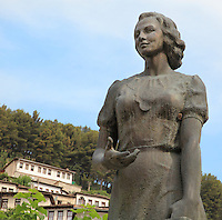 Statue of Margarita Tutulani, heroine and populist and a member of the anti-nazi resistance during WWII, in Berat, South-Central Albania, capital of the District of Berat and the County of Berat. Picture by Manuel Cohen