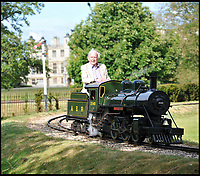BNPS.co.uk (01202 558833)<br /> Pic:  BraybrookCollection/BNPS<br /> <br /> Lord Braybrooke - driving the Lord Braybrooke..est £30,000.<br /> <br /> A late aristocrat's prized collection of model trains has sold for £244,000.<br /> <br /> Lord Braybrooke set up a miniature garden railway 55 years ago in the grounds of his stately home at Audley End House in Saffron Walden, Essex.<br /> <br /> He died in 2017 and his family parted with nine of his locomotives to raise funds to improve the railway's facilities so it can keep running for future generations.