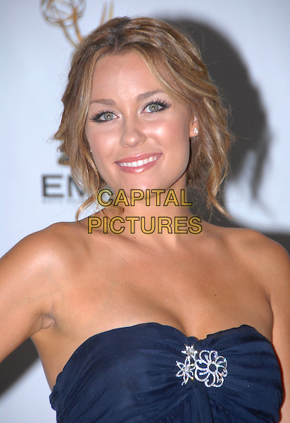 LAUREN CONRAD .60th Annual Primetime Emmy Awards held at the Nokia Theatre, .Los Angeles, California, USA, .21 September 2008. .press room pressroom portrait headshot blue strapless dress brooch .CAP/ADM/`CH.©Charles Harris/Admedia/Capital PIctures