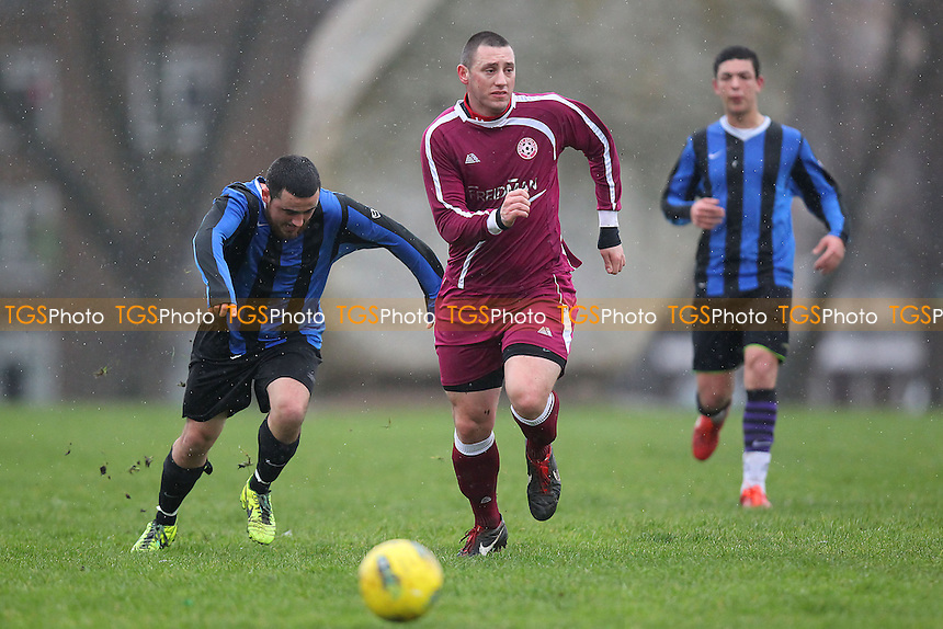 Forest Athletic (burgundy) vs Azzurri One - Hackney & Leyton Sunday League Football at Mabley Green, London - 26/01/14 - MANDATORY CREDIT: Gavin Ellis/TGSPHOTO - Self billing applies where appropriate - 0845 094 6026 - contact@tgsphoto.co.uk - NO UNPAID USE