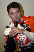 Points leader Tony Stewart speaks to the media.