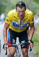 21.07.2003 US cyclist and front-runner Lance Armstrong (Team US Postal-Berry Floor) struggles during the 15th stage of the Tour de France in Luz Ardiden in the Pyrenees, France, 21 July 2003. Despite a bad fall Armstrong managed to increase his lead by 1:07 minutes as the front-runner in the overall standings. The 15th leg was the most difficult leg of the tour and covered a distance over 159.5 kilometres from the French town of Bagneres-de-Bigorre to Luz-Ardiden.