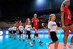 25.08.2018, …VB Arena, Bremen<br />Volleyball, LŠ&auml;nderspiel / Laenderspiel, Deutschland vs. Niederlande<br /><br />Einlauf Deutschland - Hanna Orthmann (#12 GER), Louisa Lippmann (#11 GER), Jennifer Geerties (#6 GER), Jana Franziska Poll (#5 GER)<br /><br />  Foto &copy; nordphoto / Kurth