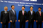 May 5, 2017, Yokohama, Japan -  (L-R) Bank of Japan Governor Haruhiko Kuroda, Japanese Finance Minister Taro Aso, South Korean Finance Minister Yoo Il-ho, Bank of Korea Governor Lee Juyeol and Chinese Vice Finance Minister Shi Yaobin pose for photo before starting the trilateral finance ministers and central bank governor's meering during the Asian Development Bank (ADB) annual meeting in Yokohama, suburban Tokyo on Friday, May 5, 2017. ADB started a four-day session for its annual meeting to celebrate the 50th anniversary of the ADB.   (Photo by Yoshio Tsunoda/AFLO) LwX -ytd-