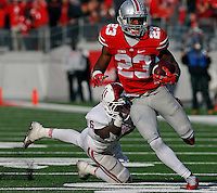 Ohio State Buckeyes safety Tyvis Powell (23) carries the ball evading Indiana Hoosiers safety Zeke Walker (6) following his interception in the fourth quarter of their game at Ohio Stadium in Columbus, Ohio on November 22, 2014. (Columbus Dispatch photo by Brooke LaValley)