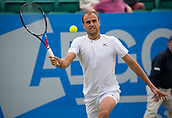 June 15th 2017, Nottingham, England; ATP Aegon Nottingham Open Tennis Tournament day 6;  Volley from Marius Copil of Roumania as he defeats Reilly Opelka of USA in two sets