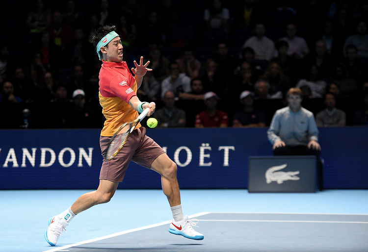Kei Nishikori (JPN) in action against Kevin Anderson (RSA) in their Group Lleyton Hewitt match<br /> <br /> Photographer Hannah Fountain/CameraSport<br /> <br /> International Tennis - Nitto ATP World Tour Finals Day 3 - O2 Arena - London - Tuesday 13th November 2018<br /> <br /> World Copyright © 2018 CameraSport. All rights reserved. 43 Linden Ave. Countesthorpe. Leicester. England. LE8 5PG - Tel: +44 (0) 116 277 4147 - admin@camerasport.com - www.camerasport.com