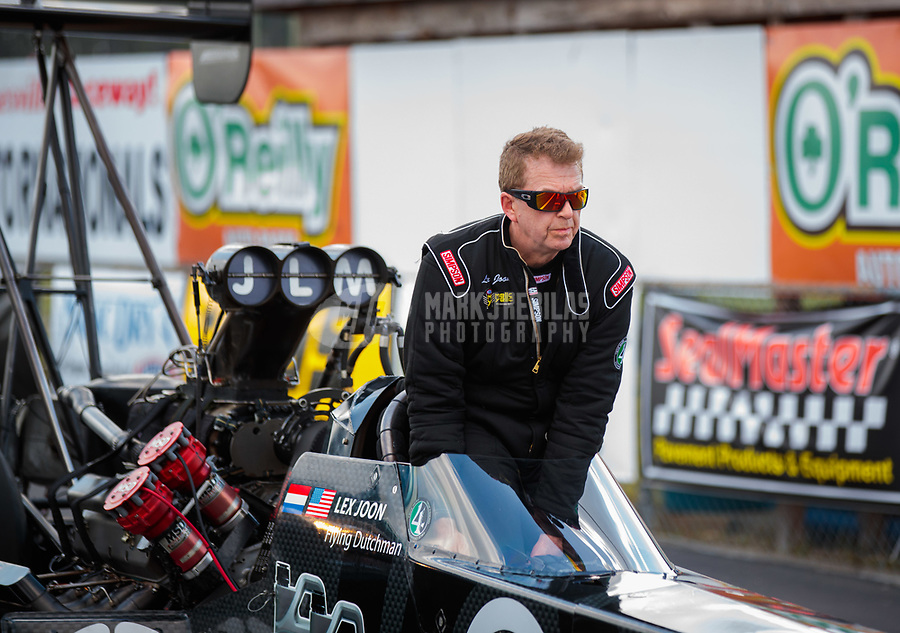 Mar 15, 2019; Gainesville, FL, USA; NHRA top fuel driver Lex Joon during qualifying for the Gatornationals at Gainesville Raceway. Mandatory Credit: Mark J. Rebilas-USA TODAY Sports