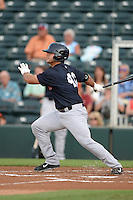 Tampa Yankees first baseman Mike Ford (40) at bat during a game against the Fort Myers Miracle on April 15, 2015 at Hammond Stadium in Fort Myers, Florida.  Tampa defeated Fort Myers 3-1 in eleven innings.  (Mike Janes/Four Seam Images)