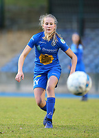 20191221 - WOLUWE: Gent's Feli Delacauw is in action during the Belgian Women's National Division 1 match between FC Femina WS Woluwe A and KAA Gent B on 21st December 2019 at State Fallon, Woluwe, Belgium. PHOTO: SPORTPIX.BE | SEVIL OKTEM