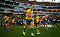 Nic White of the Wallabies runs out during the Rugby Championship match between Australia and New Zealand at Optus Stadium in Perth, Australia on August 10, 2019 . Photo: Gary Day / Frozen In Motion