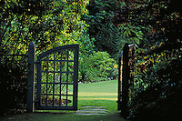 GARDEN GATE.entrance, exit, beginning, portal, door. VANCOUVER BRITISH COLUMBIA CANADA.
