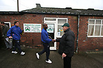 Burscough 3, Gillingham 2, 05/11/2005. Victoria Park, Burscough, FA Cup first round. A home fan greets visiting players inside the ground before the match. The team from the Northern Premier League Premier Division defeated their Football League Championship rivals by 3-2 with two goals in the last minute, watched by a crowd of 1927 spectators. Photo by Colin McPherson.