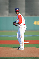 Brooklyn Cyclones pitcher Scarlyn Reyes (17) during game against the Staten Island Yankees at MCU Park on June 29, 2014 in Brooklyn, NY.  Staten Island defeated Brooklyn 5-4.  (Tomasso DeRosa/Four Seam Images)